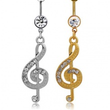 Music Note Piercing Button Rings