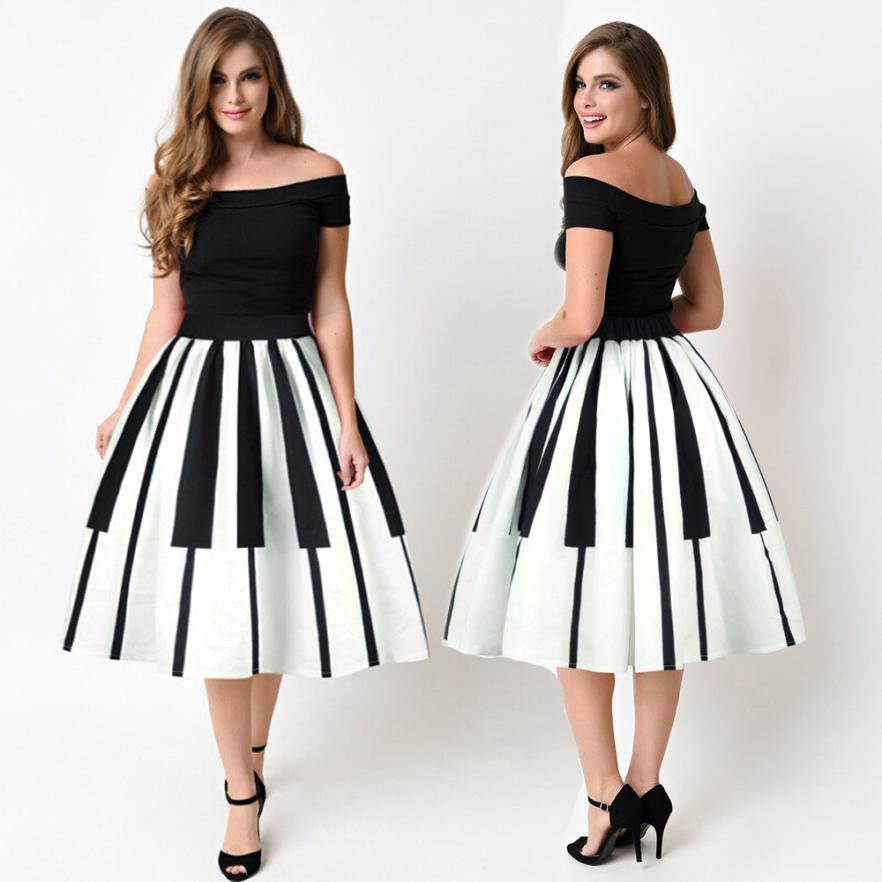 Piano Printed High-Quality Dress