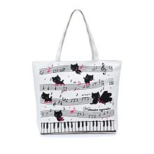 Music Note Cat Tote Bag
