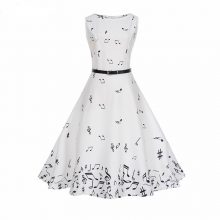Music Note Long White Summer Dress