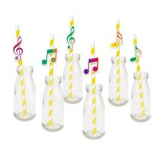 Music Note Paper Drinking Straws 24PCS