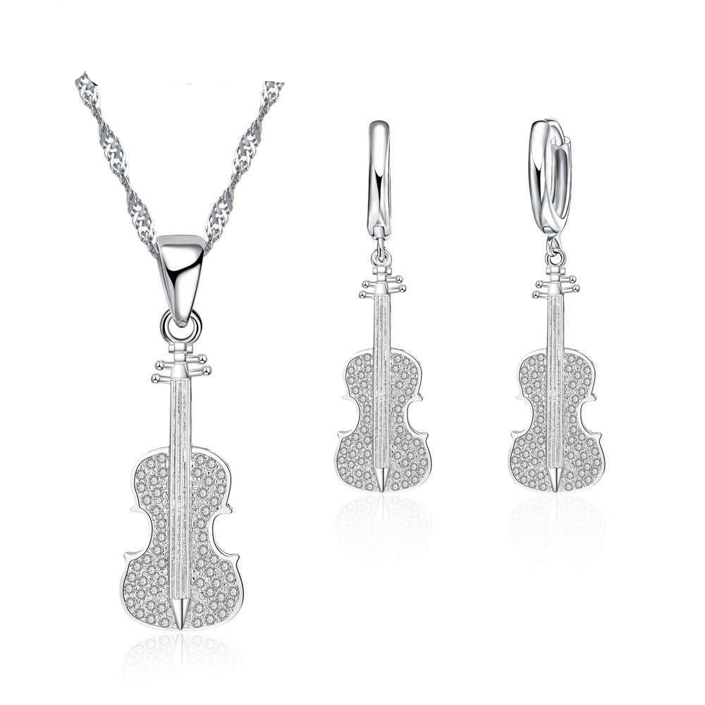 Violin Jewelry Set With Cubic Zirconia Crystal