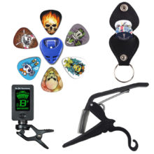 Guitar Accessories Gifts | Guitar Tuner + Capo + Plectrum Holder + Key Ring + 6 Picks