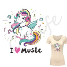 Music Unicorn Iron On Patch Stickers for T-Shirt
